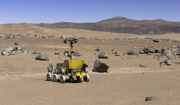 Bridget the rover, pictured here with Paranal Observatory in the background. (Credits: ESO/G. Hudepohl).