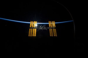 ISS against blue horizon Credits: NASA