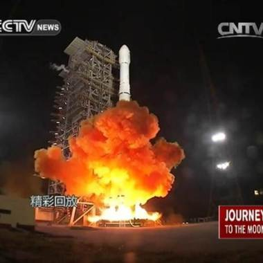 "Liftoff of China's Chang'e 3 & their ""Jade Rabbit"" Yutu rover to the surface of the moon from Xichang Satellite Launch Center in southwest China. Image Credit: CCTV"