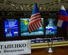 US and Russian flags fly, belying the building political furor between the nations