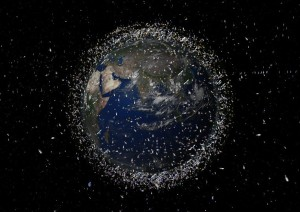 Artist's rendition of the satellites - whole and in part - currently orbiting our planet (Credits: ESA).