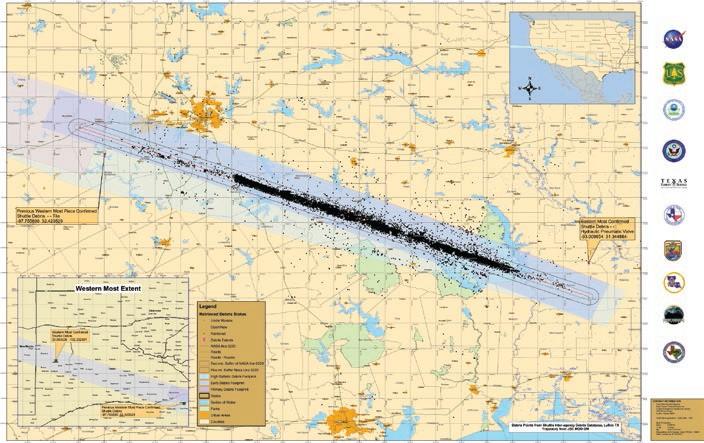 Columbia Debris Field Columbia Debris Spread Across
