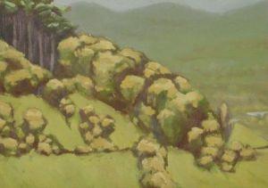 Sauerland  31.5 x 21 cm  acryl op paneel  1982