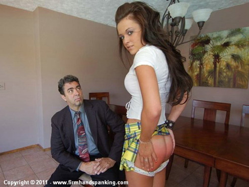 Brand new spanking model Sabrina Scott shows her red bottom after her OTK session