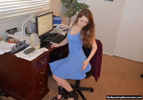 Hot secretary Alaina Fox begins this part of the scene with an already sore bottom