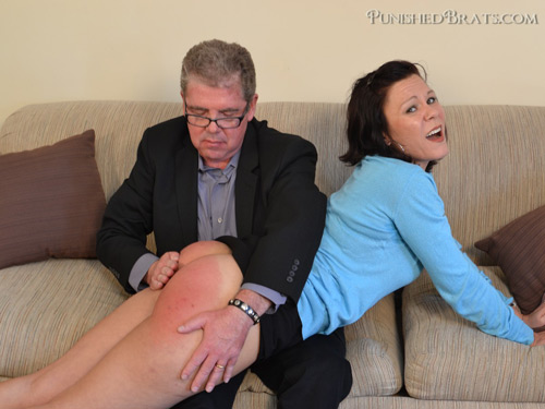 David Pearson spanks naughty Audrey's big, round bare bottom