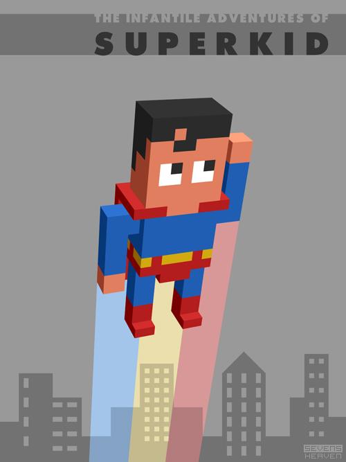 voxel-3d-pixel-art-graphic-design_superkid-superboy-superman