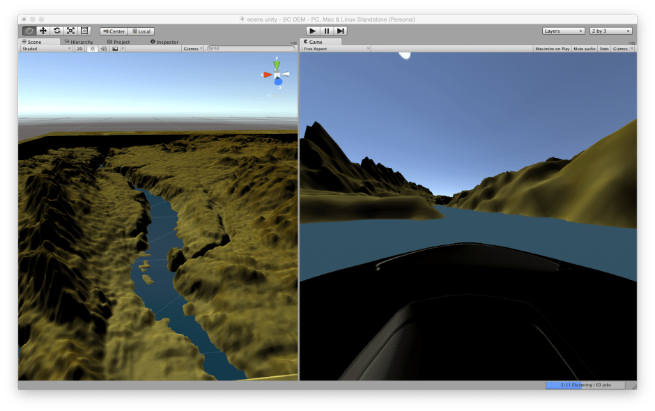 Day 1 - Unity 3D real time rendering of geodata