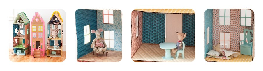 DIY dollhouses : cardboard townhouses, a dollhouse on wheels and a rooftop garden
