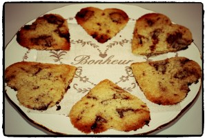Heart shapes chocolate chip cookies