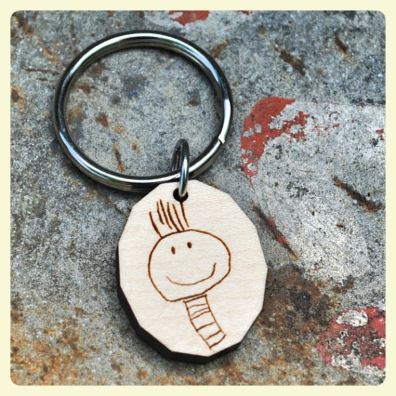 Children's artwork keychain. What to do with all your children's artwork? Learn fun ways to display it!