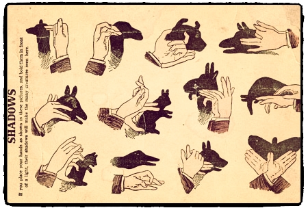 Vintage shadow puppet instructions retouched