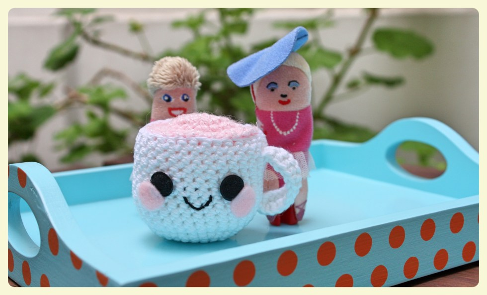 Finger puppet ladies drinking tea from a CUTE KITSCH TEACUP. Featured by Special Learning House. www.speciallearninghouse.com.