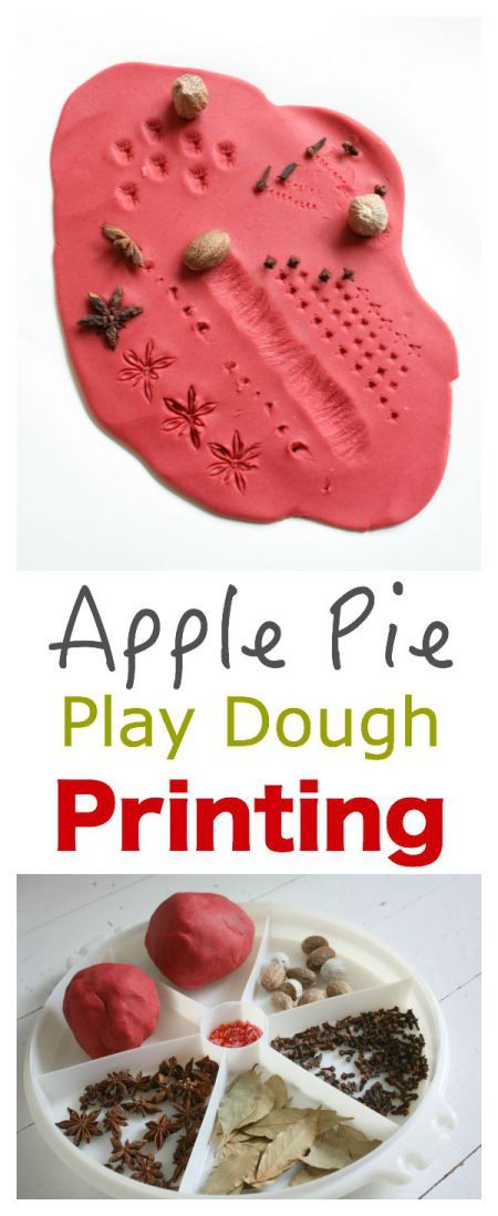 Fall special needs kids crafts : Apple Pie Play Dough Printing.Featured by Special Learning House. www.speciallearninghouse.com.