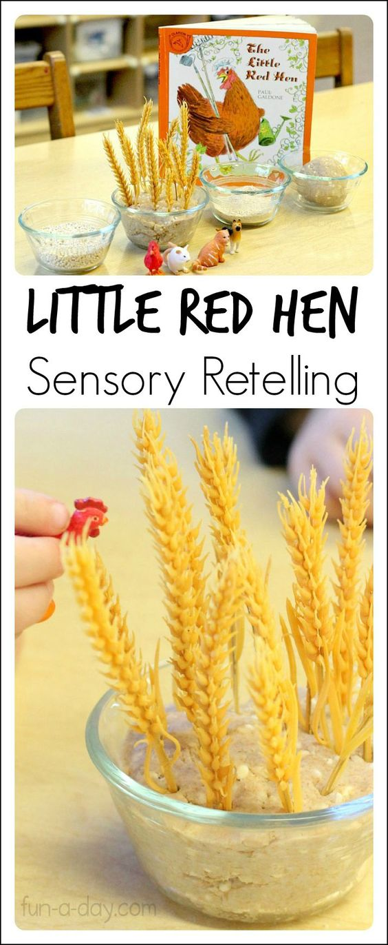 Fall special needs kids crafts : Little Red Hen Sensory Retelling. Featured by Special Learning House. www.speciallearninghouse.com.