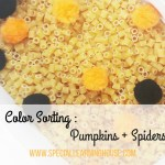 Color sorting : pumpkins + spiders