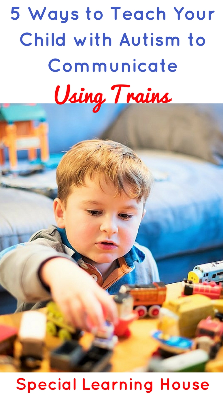 5 Ways to use trains to teach your child with autism to communicate. ASL adapted autism sin for train. | speciallearninghouse.com