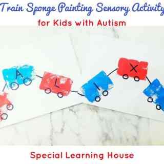 Train sponge painting sensory activity for kids with autism