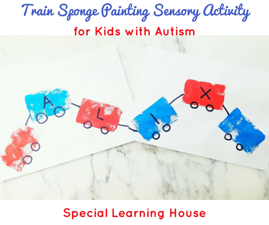 Train sponge painting sensory activity for children with autism. | speciallearninghouse.com