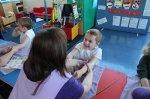 child massaged in school setting