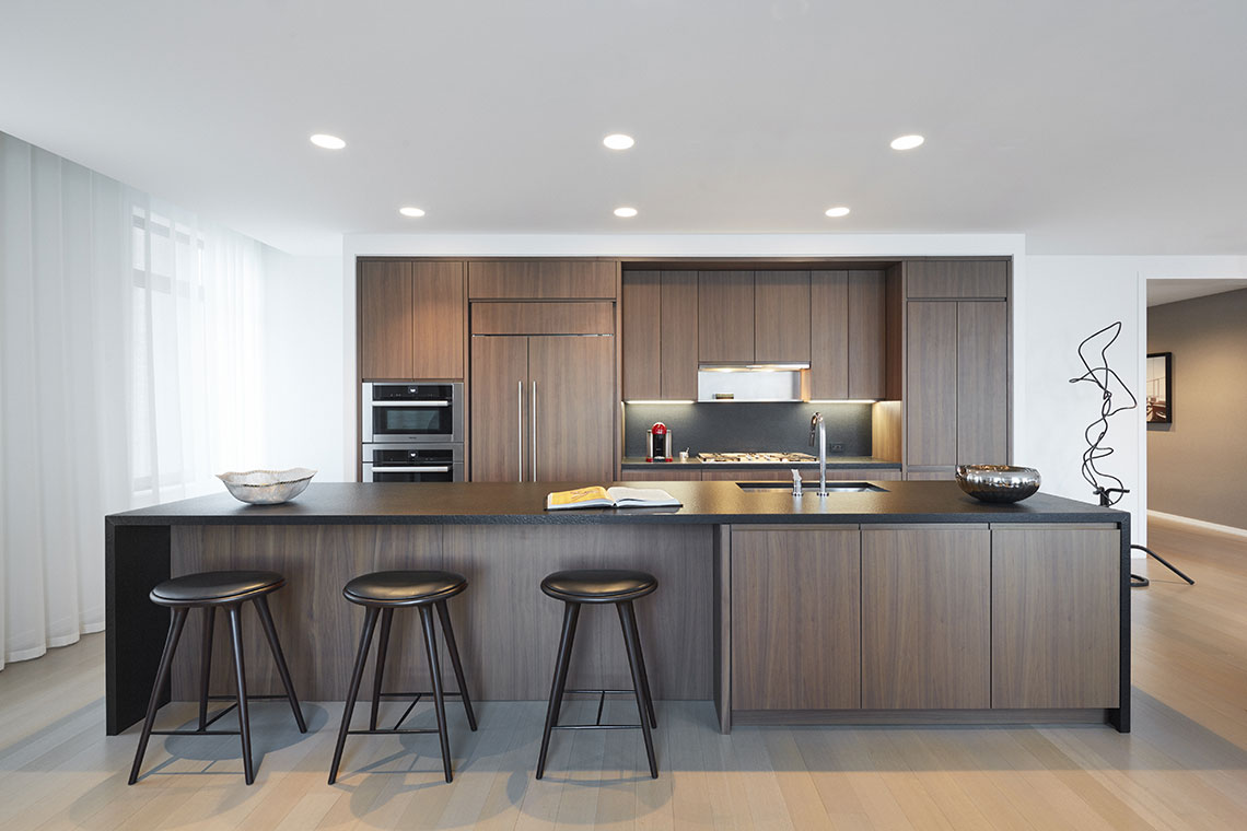 Bon Kitchens Feature Stained Walnut Cabinetry With Integrated Pulls Throughout.  Interiors Are Finished With Solid Oak Dovetail Drawers.