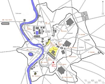 Temple of Bona Dea on a map of ancient Rome ar...