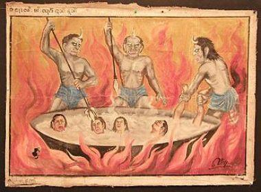 English: 19th century Burmese temple painting....