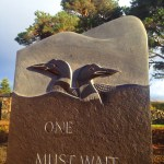 Great Northern Divers Loons garden sculpture stone