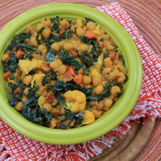 Channa Masala with Kale, Carrots and Cauliflower