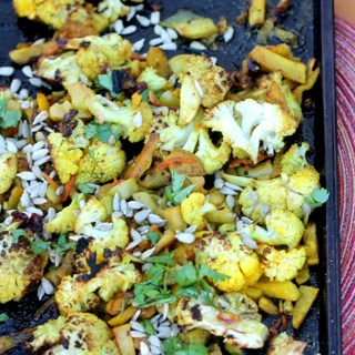 Indian Spiced Roasted Squash and Cauliflower