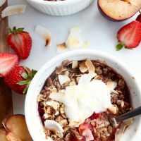 Plum Strawberry Coconut Oatmeal Crisp (gf)