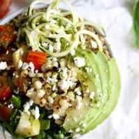 Grain Bowls with Grilled Corn, Heirloom Tomatoes, and Basil Vinaigrette