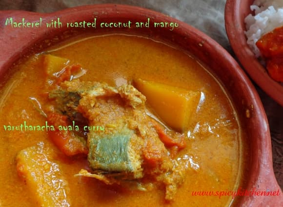 Mackerel curry with roasted coconut and mango | Varutharacha ayala curry