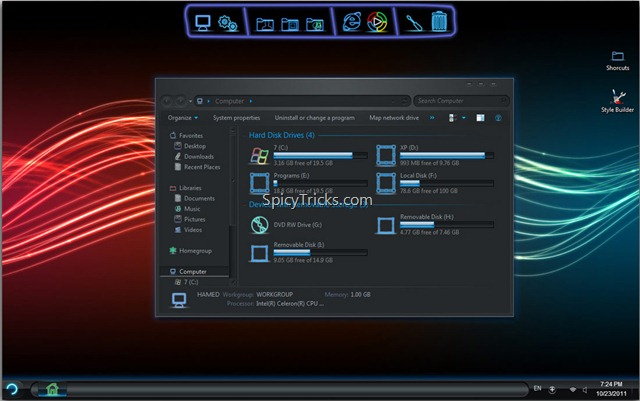 neon skin pack 2 0 x86 Windows themes thumb Top 10 Windows 7 Themes, Visual Styles, Stylish Transformation Skin Packs for Win7