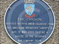 Plaque explains the history of the cannon