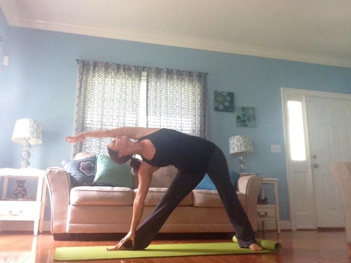 Triangle Pose, Trikonasana Modification | Downward Facing Dog | Best Yoga Poses for the Second Trimester | SpoiledYogi.com