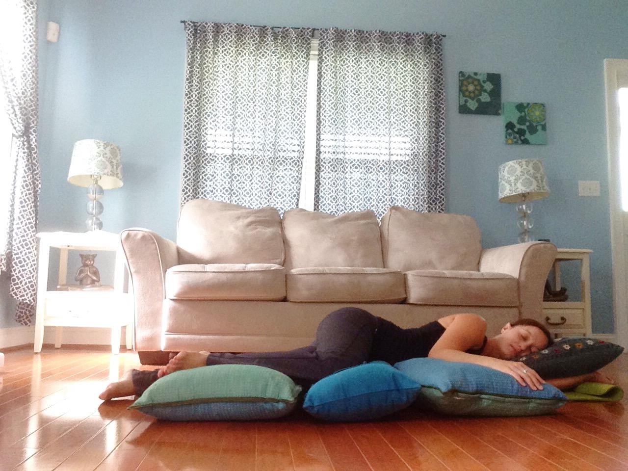 Side Lying Savasana | Best Yoga Poses for the Second Trimester | SpoiledYogi.com