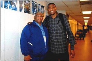Kevin Durant of Oklahoma City, pictured here with Larry Fitzgerald, has his sights on the NBA title. Photo courtesy of www.Larry-Fitzgerald.com