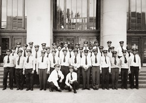 1952 photo of Red Caps in front of the Union Depot