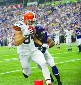 Jordan Cameron scores for the Browns. Photo by Steve Floyd