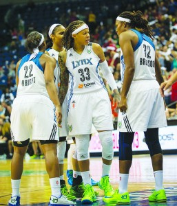 Lynx champs-to-be during last week's Game 2 of the Finals   Photo by Steve Floyd