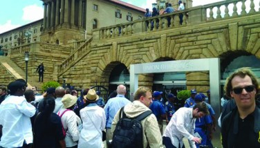 Mourners from across the world gathered outside of the Nelson Mandela Amphitheatre.