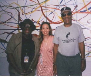 Robin James (middle) with Bill Cosby (right) at 2002 Playboy Jazz Festival
