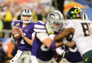 Kansas State Wildcats quarterback Collin Klein (7) against the Oregon Ducks during the 2013 Fiesta Bowl at University of Phoenix Stadium. Credit: Mark J. Rebilas-USA TODAY Sports