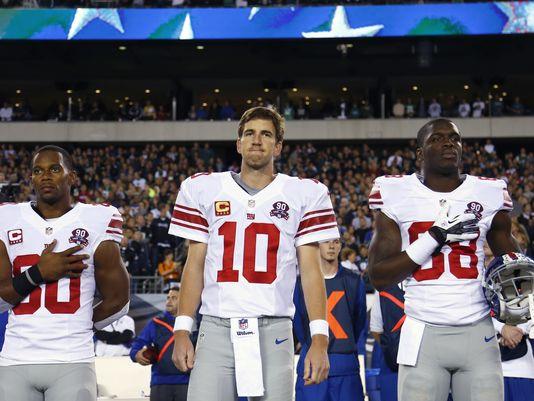 Eli Manning at the National Anthem
