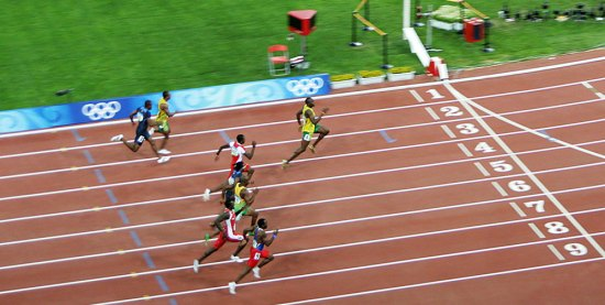 Usain Bolt winning the 100m at the Beijing 2008 Olympics. Photo by Flick user PhotoBobil.