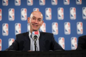 LAS VEGAS, NV - JULY 19: NBA Deputy Commissioner Adam Silver talks to the media during a press conference at the end of the Board of Governors' meeting on July 19, 2012 at the Encore Hotel in Las Vegas, Nevada. NOTE TO USER: User expressly acknowledges and agrees that, by downloading and/or using this photograph, User is consenting to the terms and conditions of the Getty Images License Agreement. Mandatory Copyright Notice: Copyright 2012 NBAE (Photo by Tom Donoghue/NBAE via Getty Images)