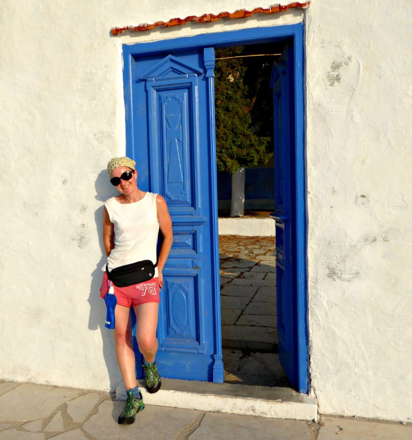 Symi hike by blue door
