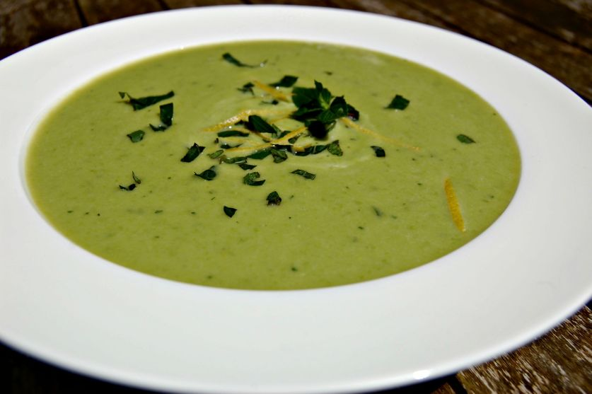 Pea and leek soup close up