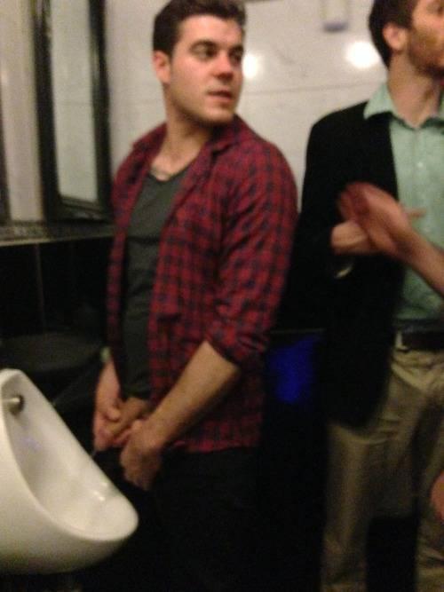 hung business men at urinal